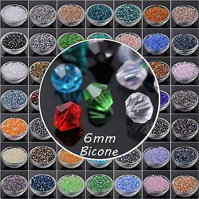 Wholesale 100pcs Faceted Glass Crystal Findings Loose Bicone Spacer Beads 6mm