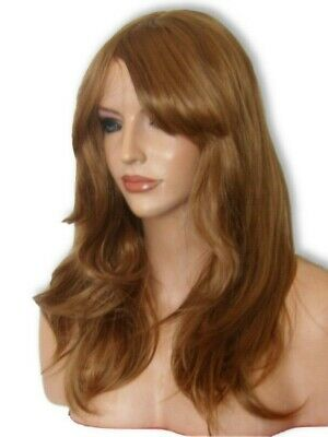 Light Brown Auburn Wig Fashion Long Flick with fringe ginger Ladies Hair Wig K10