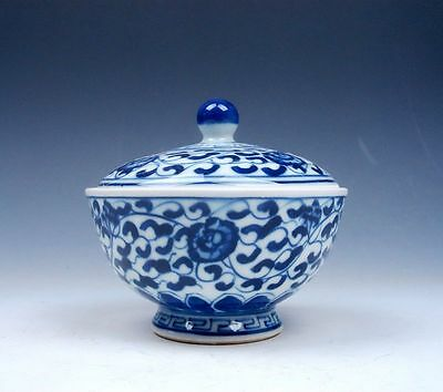 Chinese Blue&White QingHua Flowers Hand Painted Lidded Tea Cup Home Decor