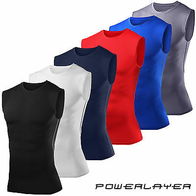Mens Boys Compression Vest Baselayer Sleeveless Thermal Under Top PowerLayer
