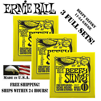 ** 3 Sets! Ernie Ball Beefy Slinky Electric Guitar Strings 2627 **