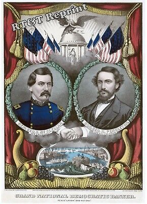 Historical 1864 Democratic Presidential Ticket Poster  11x14