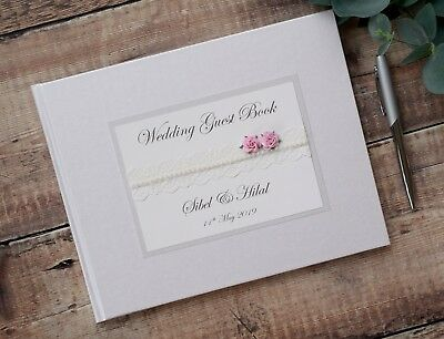 Personalised Wedding Guest Book.Vintage Style Lace & Rose Design. Handmade.