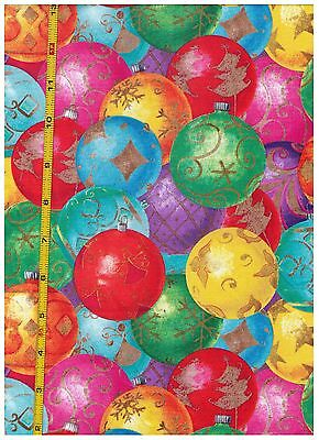 Christmas Ornaments Santas Spheres by David Textiles bty PRICE REDUCED