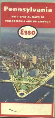1957 Esso Pennsylvania Vintage Road Map /Pittsburgh on cover