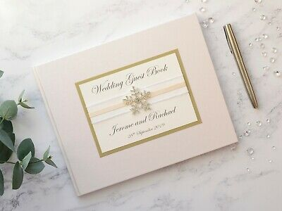 Snowflake Personalised Wedding Guest Book - Choice of Ribbon & Card Colour