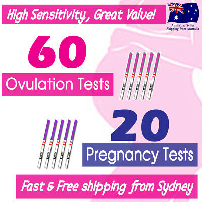 60x Ovulation Tests+20x Pregnancy Tests LH hCG Urine Strips Fertility OPK Kits