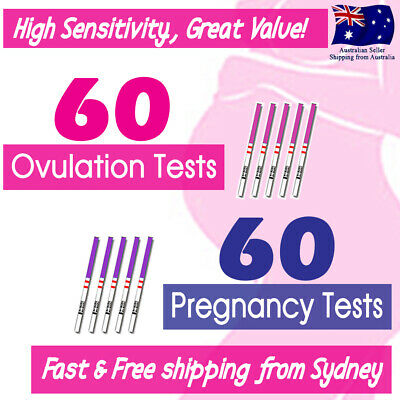 60x Ovulation Tests+60x Pregnancy Tests LH hCG Urine Strips Fertility OPK Kits
