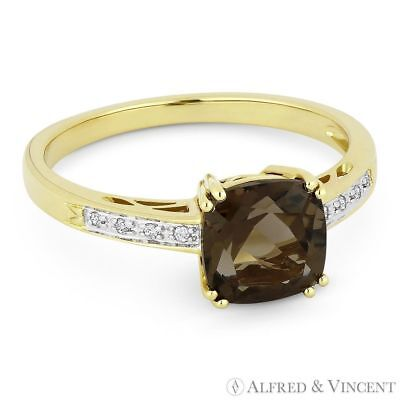 1.40ct Cushion Cut Smoky Topaz Round Diamond Right Hand Ring in 14k Yellow Gold