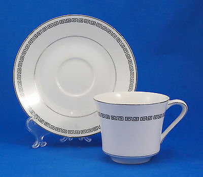 Crown Empire MARQUIS Flat Cup and Saucer Set 2.875 in. Black Greek Key Japan