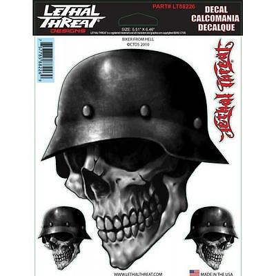 LETHAL THREAT Motorcycle Bike Board Scooter Sticker Decal Helmet Skull LT88226