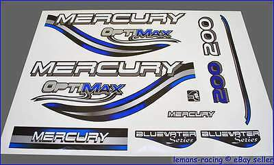 Mercury Optimax Bluewater 200 HP Outboard Decals Stickers Set 150 225