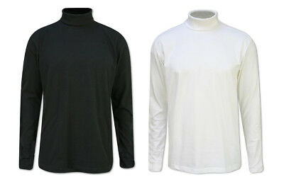 MENS SKI&GOLF 300gsm HEAVY COTTON POLO ROLL RIBBED NECK TOP BLACK WHITE