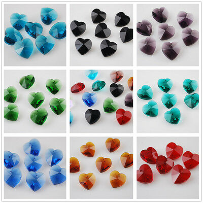 10mm Charms Heart Faceted Glass Crystal Earring Findings Pendant Beads Colors