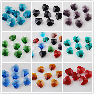 10mm Heart Crystal Pendant Charms Faceted Loose Glass Beads Jewelry Findings