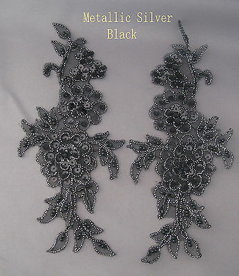 2 X Handmade Venise Lace Sequins & beaded Applique Trim Motif Silver Black # 4