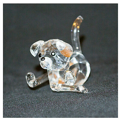Crystal clear laying dog with bone, miniature ornament -lovely animal gift  NEW