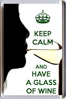 New KEEP CALM and HAVE A GLASS of WINE White Wine FRIDGE MAGNET Christmas Gift