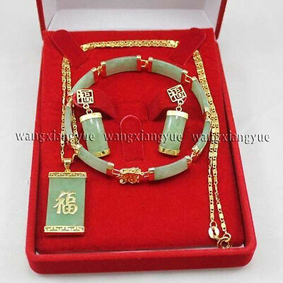 Green Jade Inlay Link Bracelet earrings Necklace Pendant Set + Gift Box