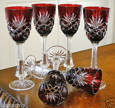 """(6) Faberge Odessa Liqueur Cordial Glasses, Ruby Red Cased Crystal 6.5""""h"""