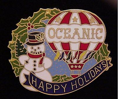 Hot Air Balloon Pin~ Oceanic ~Happy Holidays~ Christmas ~ Snowman