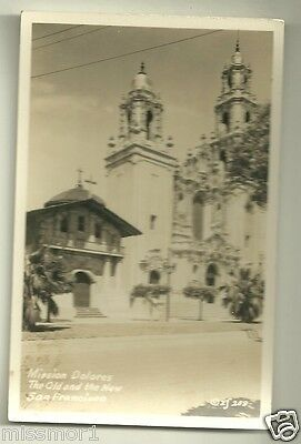 Mission Dolores old and new San Francisco CA 1930s postcard RPPC