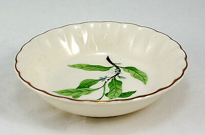 W. S. George B8760 Fruit / Dessert Bowl 5.125 in. Green Leaves Gold Trim Fluted
