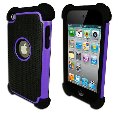NEW Purple Black Heavy Duty Tough Impact Case for Apple iPod Touch 4 4th Gen 4G