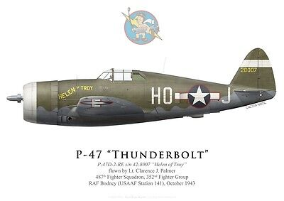 "Print P-47D Thunderbolt ""Helen of Troy"", 487th FS, 352nd FG, 1943 (by G.Marie)"