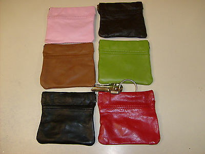 Genuine Leather Squeeze Coin Purse Metal Spring Closure With Key Chain Holder