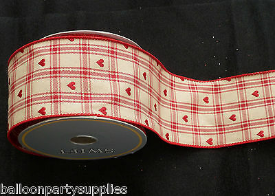 """10 Yards 2.5""""  Wired Ivory Red Hearts Ribbon Xmas Christmas Valentine Gift 60409"""