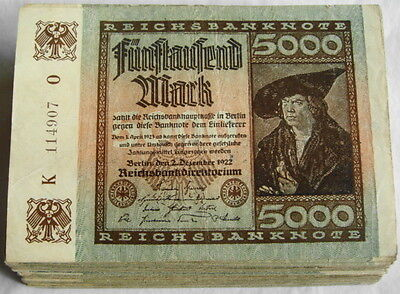 GERMANY REICHSBANKNOTE 5000 MARK 1922/sold as each