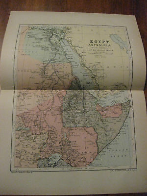Nice Antique Map of Egypt c. 1895 Johnston
