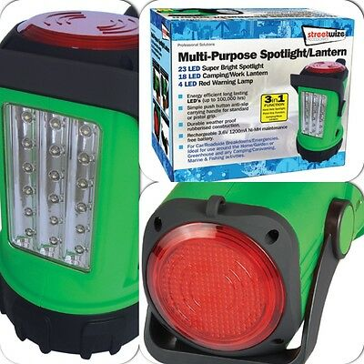 Big Bright White LED Spotlight Torch, Camping & Work Latern & Red Warning Light