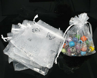 100 White Butterfly Organza Wedding Gift Bags&Pouches 9x12cm
