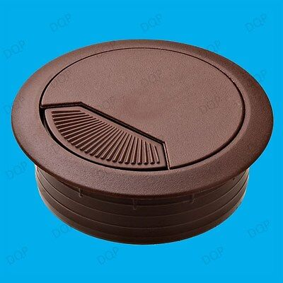 10x 60mm Brown PC Computer Desk Plastic Grommet Table Cable Tidy Wire Hole Cover