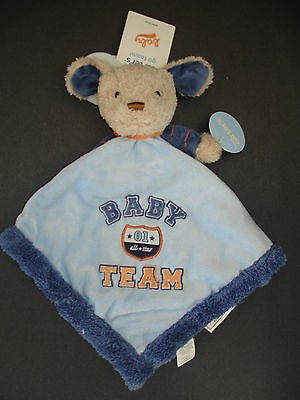Carter's Security Baby Blanket Lovey All Star Team Blue Rattle Puppy Dog New