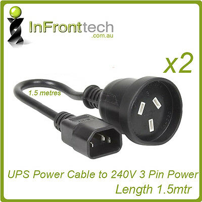 2x UPS to PC IEC C14 3-Pin Aus Power Cable Cord Lead 1.5mtr