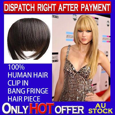100% Human Hair Fringe Bangs Clip In Extension Hair Piece Color Choices