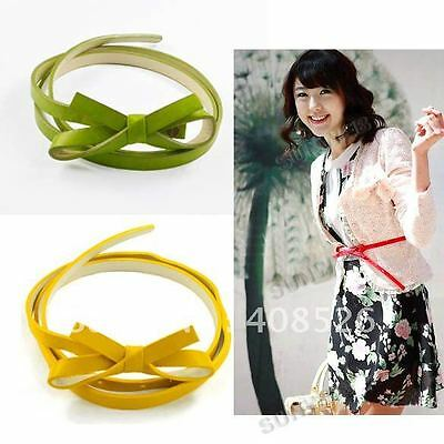 ladies belt girls belt new thin faux leather skinny flower KNOT belt in10 colors