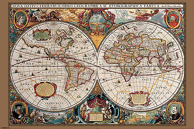 17th Century World Map Antique Art Poster Print 24X36 (91.5X61cm)