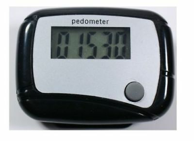 BLACK LCD PEDOMETER with CLIP - DIGITAL ELECTRONIC WALKING DISTANCE STEP COUNTER