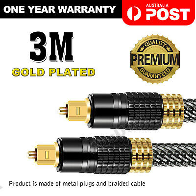 3M Ultra Premium Gold Plated Optical Fibre Digital Audio Cable Toslink S/PDIF