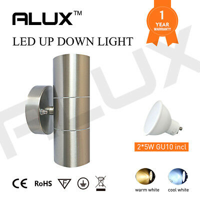 316 Stainless Steel Wall Light Up& Down 2 Warm/ Dayligt White LED 5W Globe