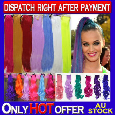 Colorful Ponytail Straight Long Cosplay Party Hair Extension Color Choices