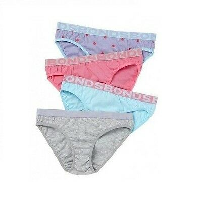 BONDS KIDS GIRLS UNDERWEAR 4 PACK BRIEFS WHITE PINK UNDIES SIZE 3 4 6 8 10 12