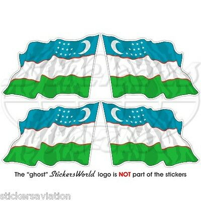 "UZBEKISTAN Uzbekistani Flying Flag 50mm (2"") Vinyl Bumper Stickers, Decals x4"