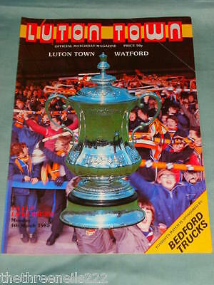 FOOTBALL PROGRAMME - FA 6th - LUTON TOWN V WATFORD - MARCH 4 1985