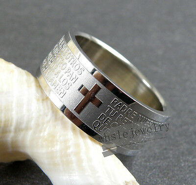 Wholesale 12pcs 8mm Super 316L Stainless Steel Bible Cross Band Rings
