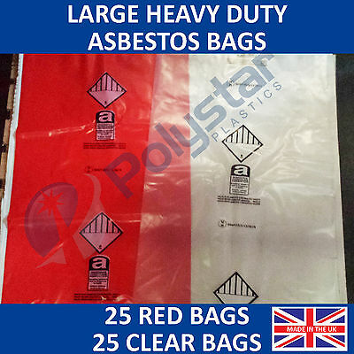 50 PACK - 25 Red and 25 Clear Heavy Duty Asbestos Disposal Bags 900mm x 1200mm